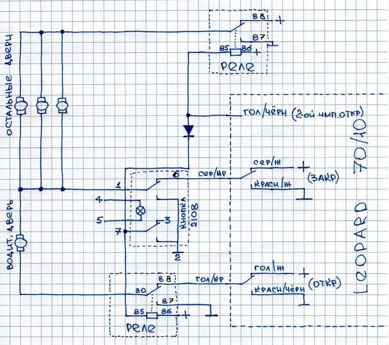 Дополнительная кнопка управления центральным замком.  Схемы подключения автосигнализаций к системам центрального замка.