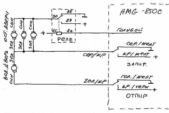 Сегодня: 01.11.2013.  Схемы подключения автосигнализаций к системам центрального замка.